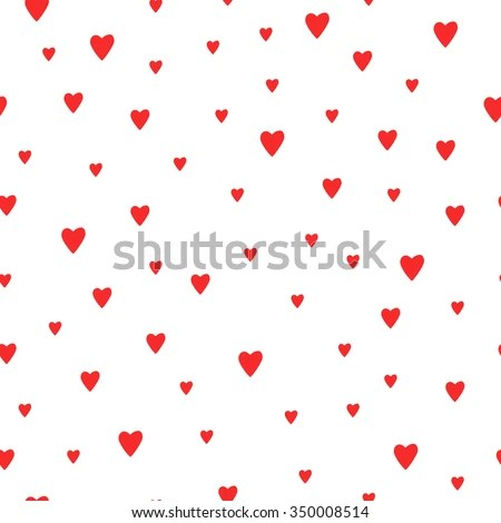 Seamless Red Hearts Pattern Background Cute Stock Vector (Royalty