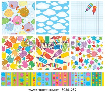 Seamless Vector Cute Backgrounds Design Stock Vector (Royalty Free