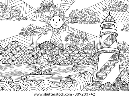 Seascape Line Art Design Coloring Book Stock Vector (Royalty Free