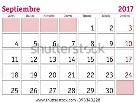 September Month Year 2017 Wall Calendar Stock Vector (Royalty Free
