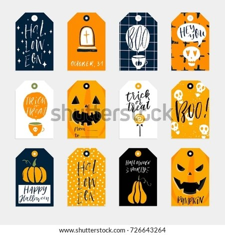 Set 12 Halloween Gift Tags Cute Stock Vector (Royalty Free