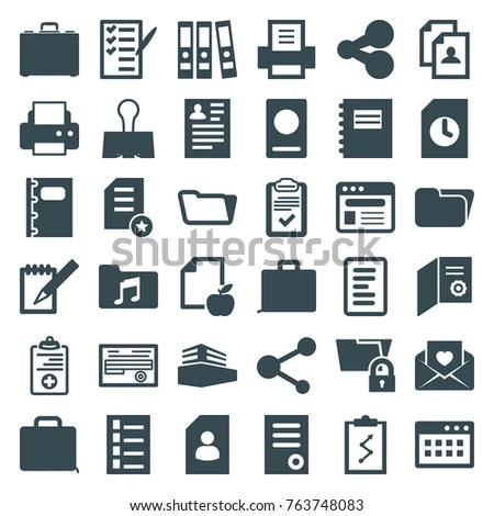 Set 36 Document Filled Icons Such Stock Vector (Royalty Free