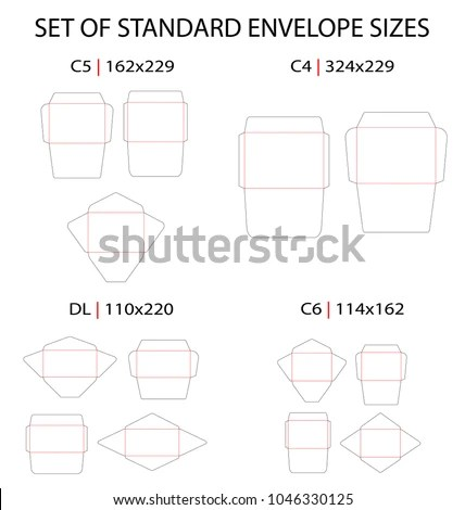 Set 4 Standard Types Envelopes Vector Stock Vector (Royalty Free