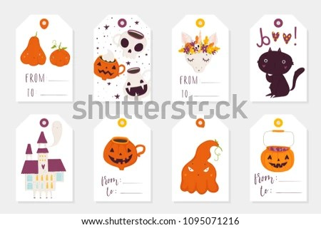 Set 8 Halloween Gift Tags Cute Stock Vector (Royalty Free