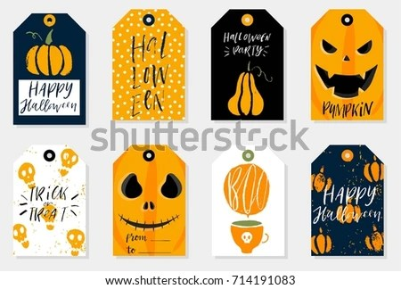 Set 8 Halloween Gift Tags Cute Stock Vector (Royalty Free) 714191083