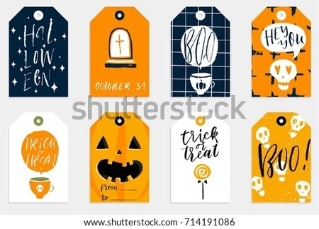 Set 8 Halloween Gift Tags Cute Stock Vector (Royalty Free) 714191086