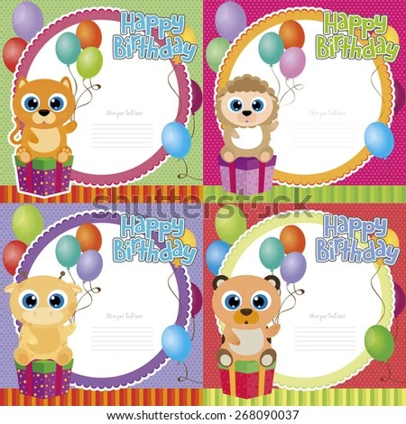 Set Backgrounds Animals Ornaments Birthday Parties Stock Vector