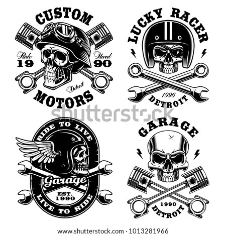 Set Biker Skulls Motorcycle Design Templates Stock Vector (Royalty