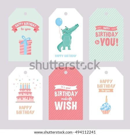 Set Birthday Labels Template Funny Illustration Stock Vector
