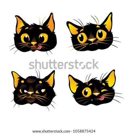 Set Black Cat Emoticons Cat Emoji Stock Vector (Royalty Free
