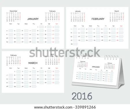 Set Blank Desktop Monthly Planning Calendar Stock Vector (Royalty