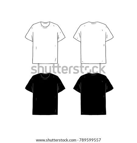 Set Blank Tshirt Design Template Hand Stock Vector (Royalty Free