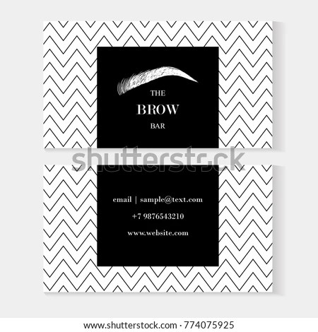 Set Brow Bar Artist Business Cards Stock Vector (Royalty Free