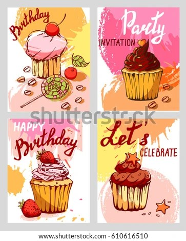Set Cake Cards Template Set Different Stock Vector (Royalty Free