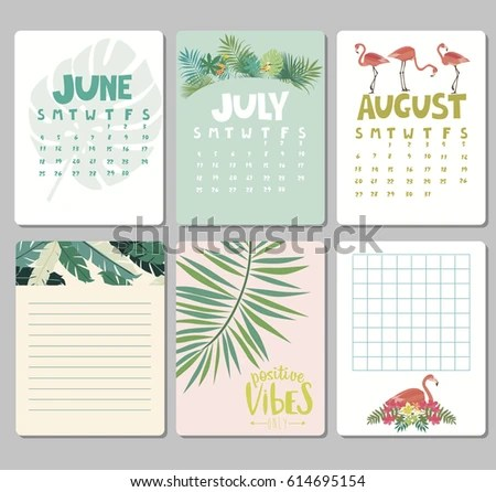 Set Calendar Daily Weekly Planner Elements Stock Vector (Royalty