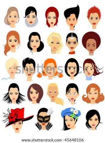 Set Cartoon Faces Girls Part 1 Stock Vector (Royalty Free) 45648106