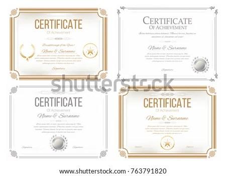 Set Certificates Appreciation Award Certificate Diploma Stock Vector