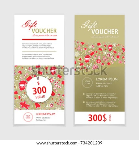 Set Christmas Gift Vouchers Certificates Coupons Stock Vector