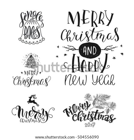 Set Christmas Lettering Merry Christmas Happy Stock Vector (Royalty