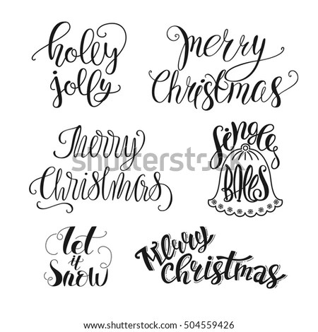 Set Christmas Lettering Merry Christmas Holly Stock Vector (Royalty