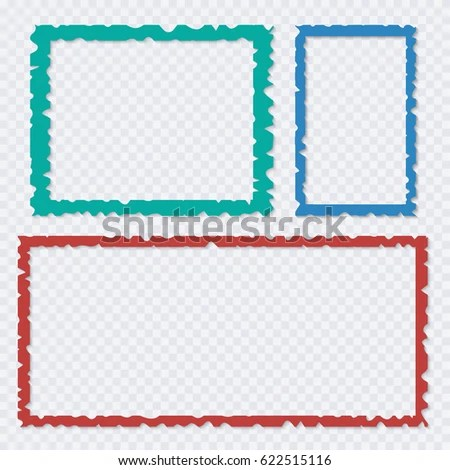 Set Color Torn Paper Frames Shadows Stock Vector (Royalty Free