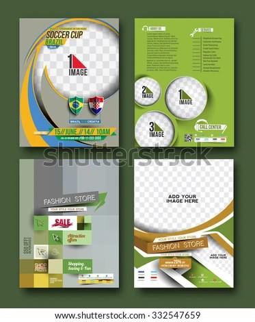 Set Competition Flyer Magazine Cover Poster Stock Vector (Royalty
