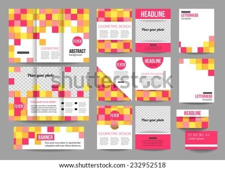 Set Corporate Business Stationery Templates Calendar Stock Vector