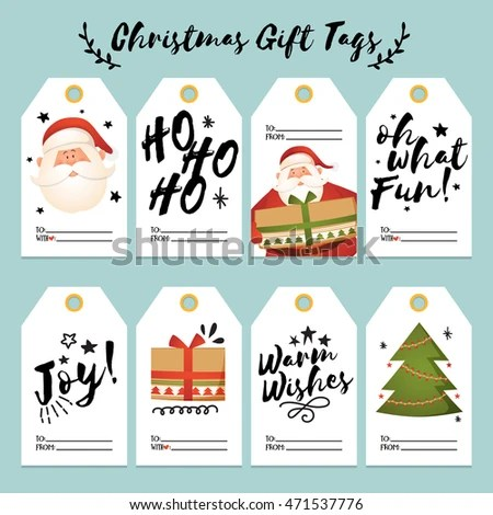 Set Creative Christmas Gift Tags Labels Stock Vector (Royalty Free