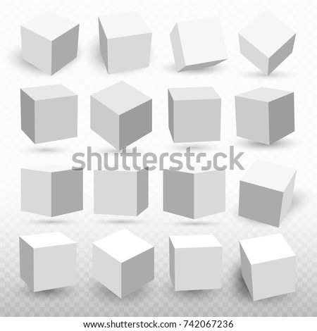 Set Cube Icons Perspective 3 D Cube Stock Vector (Royalty Free