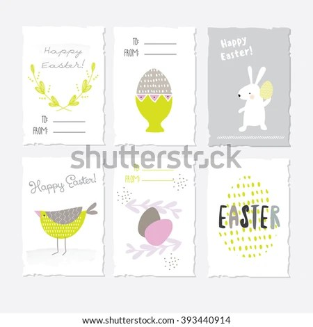 Set Cute Graphic Postcards Easter Stock Vector (Royalty Free