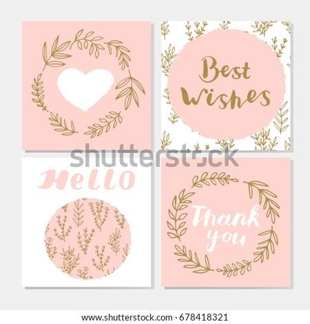 Set Cute Postcards Hand Lettering Laurel Stock Vector (Royalty Free