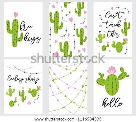 Set Cute Readytouse Gift Tags Cactus Stock Vector (Royalty Free