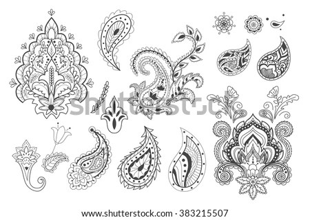 Set Decorative Paisley Templates Stock Vector (Royalty Free