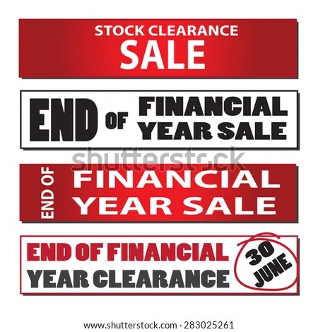 Set End Financial Year Sale Signs Stock Vector (Royalty Free