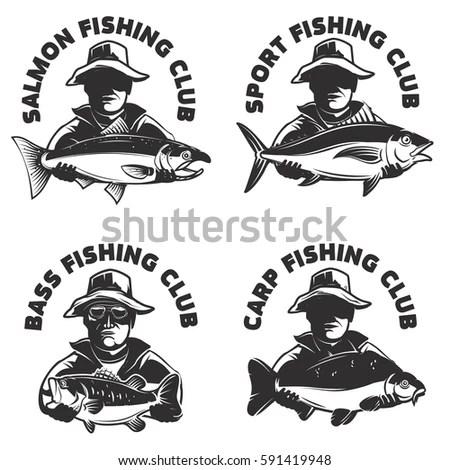 Set Fishing Club Labels Templates Fisherman Stock Vector (Royalty