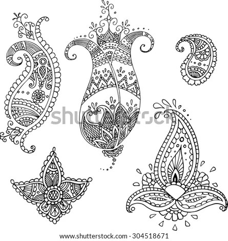 Set Five Decorative Paisley Templates Design Stock Vector (Royalty