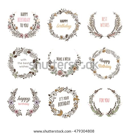 Set Floral Frames Birthday Card Vector Stock Vector (Royalty Free