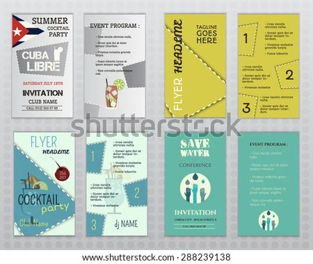 Set Flyer Layout Templates Cocktail Party Stock Vector (Royalty Free