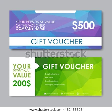 Set Gift Vouchers Templates Polygonal Green Stock Vector (Royalty