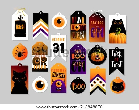 Set Halloween Gift Tags Cute Scary Stock Vector (Royalty Free