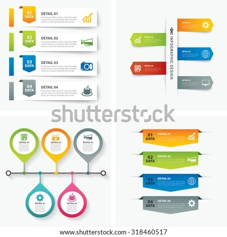 Set Infographic Templates Flat Design Stock Vector (Royalty Free