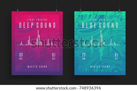 Set Modern Party Posters Colorful Abstract Stock Vector (Royalty