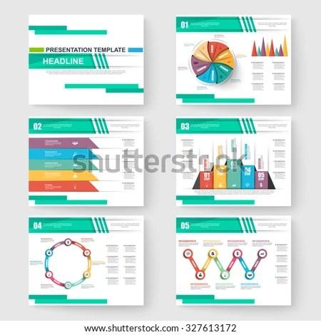 Set Presentation Slide Templates Powerpoint Business Stock Vector