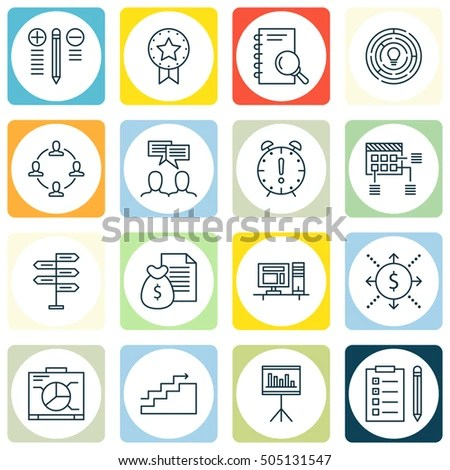 Set Project Management Icons On Schedule Stock Vector (Royalty Free