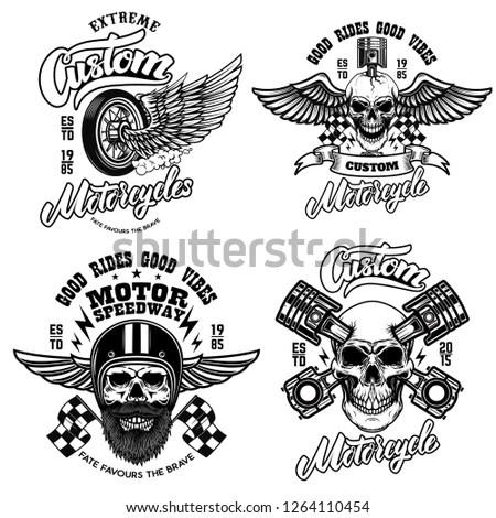 Set Racer Emblem Templates Motorcycle Motor Stock Vector (Royalty