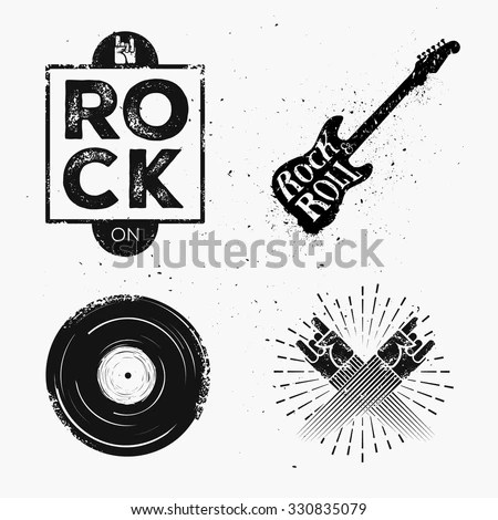 Set Rock Roll Music Signs Elements Stock Vector (Royalty Free