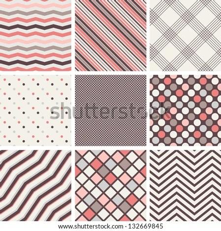 Set Seamless Patterns Polka Dots Stripes Stock Vector (Royalty Free