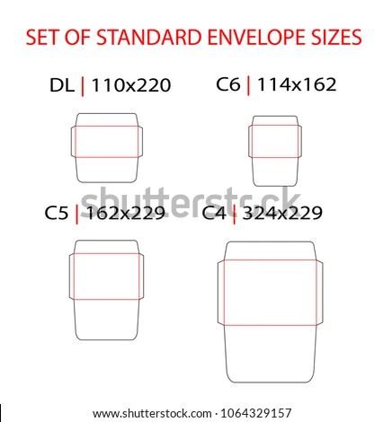 Set Standard Types Envelopes Vector Die Stock Vector (Royalty Free
