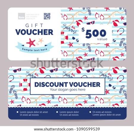 Set Summer Gift Vouchers Kids Baby Stock Vector (Royalty Free