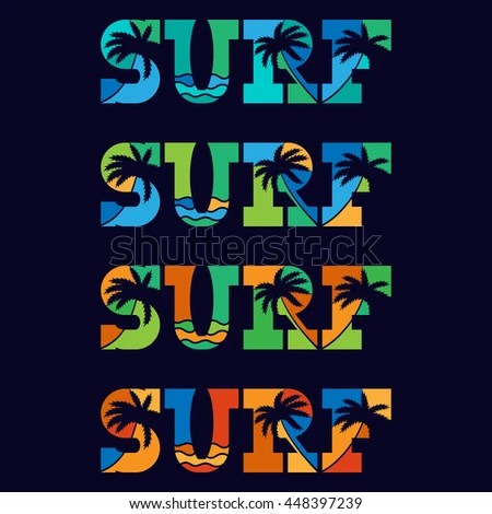 Set Surfing Typography Posters Concept Vintage Stock Vector (Royalty
